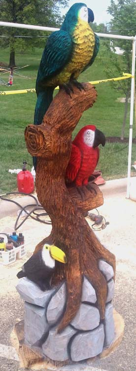 Birds christman s chainsaw carvings